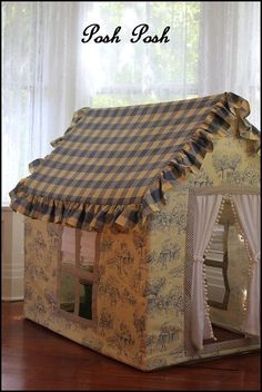 Made to order Circus Toile Small Playhouse - Kids playhouse Pvc Playhouse, Diy For Kids, Crafts For Kids, Pvc Projects, Cardboard Crafts, Cardboard Houses For Kids, Diy Toys, Play Houses, Kids And Parenting