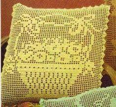 Free Crochet Flower Basket Filet Pillow
