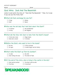 Quiz Whiz: Jack and the Beanstalk | Speakaboos Worksheets