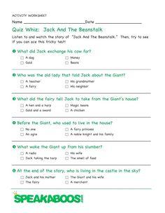 Quiz Whiz: Jack and the Beanstalk | Speakaboos #Worksheets #quiz #education #kids #jackandthebeanstalk