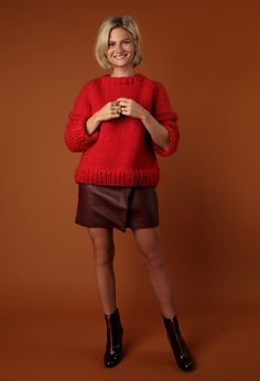 Wes Sweater in Lipstick Red + leather skirt, yes please. Pandora Sykes' style, Wool and the Gang's jumper.