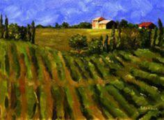 """Tuscan Vineyard,"" oil on canvas 11 x 14 by Sandi Parker Fine Art"