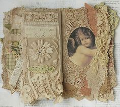 Mixed Media Fabric Collage Wall Hanging of Little Cherubs | eBay