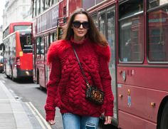 Cranberry CableKnit + Fur Trim   Estelle   London Fashion Week.