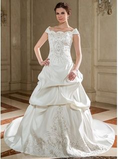Wedding Dresses - $276.99 - Ball-Gown Off-the-Shoulder Chapel Train Satin Wedding Dress With Embroidered Ruffle Beading Sequins  http://www.dressfirst.com/Ball-Gown-Off-The-Shoulder-Chapel-Train-Satin-Wedding-Dress-With-Embroidered-Ruffle-Beading-Sequins-002012561-g12561