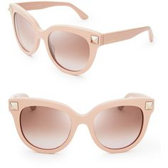 Valentino Rockstud Oversized Cat Eye Sunglasses (£204) ❤ liked on Polyvore featuring accessories, eyewear, sunglasses, glasses, shades, oversized cat eye sunglasses, oversized sunglasses, valentino sunglasses, cateye glasses and oversized cateye sunglasses