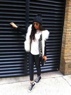 leather/faux fur/black n white/leggings/sneakers