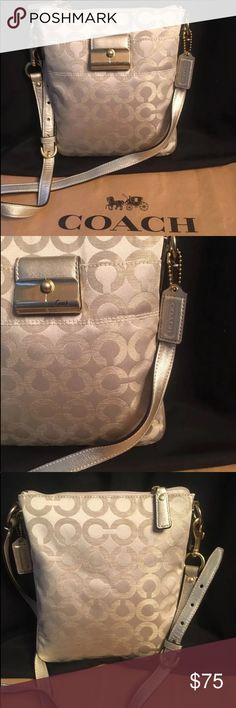 bfe56da159 Coach champagne gold Lurex Metallic Crossbody MINT Please share and follow  me Check out my coach. Gold ChampagneEvening BagsGold HardwareCross Body Shoulder ...