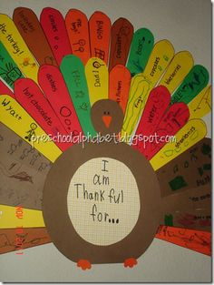 thankful turkey -- use this year after year just keep adding feathers.  Cute to go back and see what kids said  each year.  Provides printable for feathers.