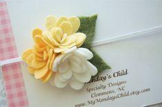 Felt Flower Headband in Buttercup Yellow  by MyMondaysChild, $7.95
