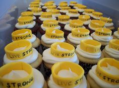 Have a cupcake fundraiser with yellow LIVESTRONG wristband cupcakes! #LIVESTRONG #fundraisingtips