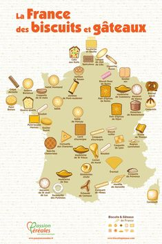 Baked goods in France. Shows a geographic map of France and it's baked goodies. Teaching French, Cigarette Russe, French Education, French Classroom, French Resources, French History, Reims, French Language Learning, French Tips