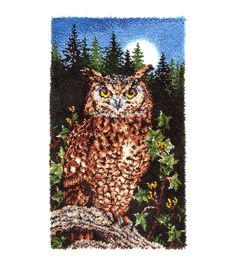 "Wonderart Classic Latch Hook Kit 30""X50""-Majestic Owl"