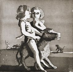 Paula Rego (British, 1935) Young Predators Etching, 1987, on wove, signed and inscribed A/P in pencil, as included in the Artists' Choice portfolio, published and printed by the Royal College of Art, London, 305 x 305mm (12 x 12in)(SH)