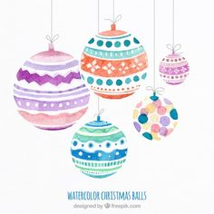 Christmas ball ornaments in watercolor. Office party flyer and invitations Watercolor Christmas Cards, Christmas Drawing, Diy Christmas Cards, Watercolor Cards, Christmas Design, Christmas Printables, Xmas Cards, Christmas Art, Christmas Decorations