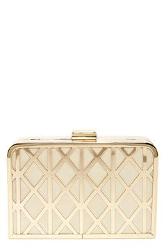 The Trellis Lover Cream and Gold Clutch is trimmed in gold metal over padded cream vegan leather with a lovely trellis-like design at front. Luxury Handbags, Fashion Handbags, Purses And Handbags, Fashion Bags, Gold Handbags, Bags Online Shopping, Online Bags, Handbag Online, Gold Clutch