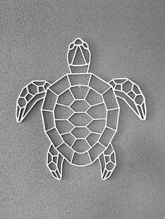 Schildpad Geometric Drawing, Geometric Shapes, Geometric Animal, Metal Art, Wood Art, Animal Drawings, Art Drawings, Tape Art, 3d Pen