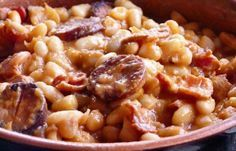 How to make Portuguese baked beans with chourico.