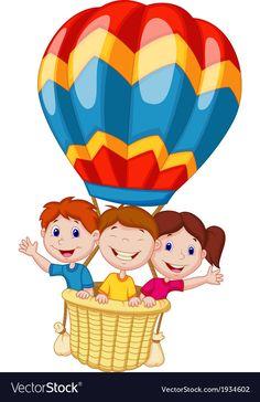 Happy kids cartoon riding a hot air balloon. Illustration of Happy kids cartoon ,