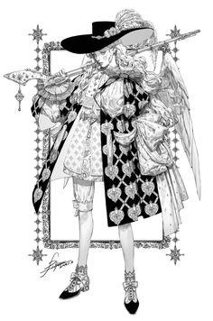 Angel with a Harquebus Concept Drawing, pilyeon . Art Et Illustration, Character Illustration, Ink Illustrations, Character Design Inspiration, Pretty Art, Looks Cool, Manga Art, Art Inspo, Line Art