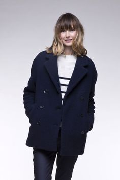 Manteau caban femme écru en lainage bouclette