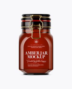 900ml Amber Glass Jar w/ Clamp Lid Mockup