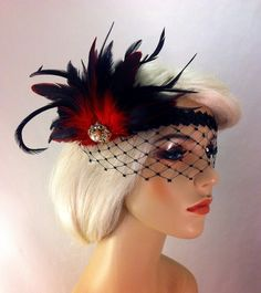 Flapper Headband,1920's Headpiece, Art Deco Headband, Rhinestone Mask/Veil, Burgundy or Red and Black, Great Gatsby, Made to Order