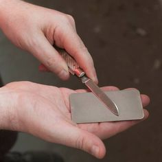 For the woodworker: This monocrystaline diamond-coated steel sharpener fits in a wallet's credit-card slot—and is easy on your wallet, to boot. | DMT Dia-Sharp Sharpener, Credit Card Sized | toolsforworkingwood.com