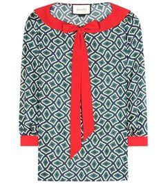 GUCCI Printed Silk Blouse. #gucci #cloth #tops
