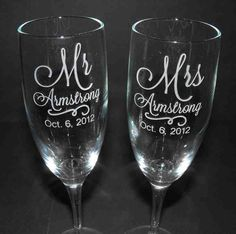 Unique Bride Gifts - Wedding Champagne Flutes- Custom Engraved via Etsy. Bride And Groom Glasses, Wedding Gifts For Bride And Groom, Bride Gifts, Diy Wedding, Wedding Ideas, Wedding Favors, Party Favors, Wedding Stuff, Table Wedding