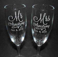 Unique Bride Gifts - Wedding Champagne Flutes- Custom Engraved via Etsy. Bride And Groom Glasses, Wedding Gifts For Bride And Groom, Great Wedding Gifts, Bride Gifts, Diy Wedding, Wedding Ideas, Wedding Stuff, Table Wedding, Wedding Rustic