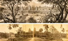The temple of Angkor Wat in Garnier's 1873 publication Voyage d'exploration en Indo-Chine I The first photograph of Angkor Wat ever taken I John Thomson I 1866 Temple, Indian Architecture, Indochine, Phnom Penh, First Photograph, Historical Photos, Archaeology, Cambodia, The Past