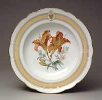 State dinner and dessert service of Ulysses S. Grant (President 1896-1877)--Dinner Plate/Made in Limoges, France, Europe c.1870 or 1873--Haviland et Cie, Limoges, France, 1842 - present--Porcelain with printed, enamel, and gilt decoration Diameter: 9 3/8 inches (23.8 cm)