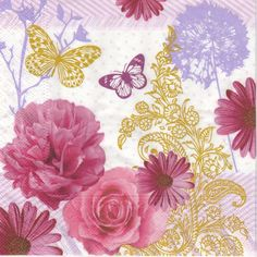 4 Single Lunch Party Paper Napkins for Decoupage Decopatch Craft Pink Flowers