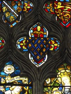 C14th glass in Froyle Hampshire stunning with it's shields of the Plantagenets and the Conqueror