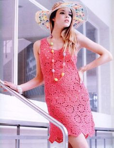 Crochetemoda: Vestido Rosa de Croche