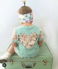 The 'Valentina' lace heart t-shirt in mint with by NaidaCrystal