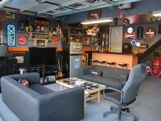 Garage man caves give men the freedom to express themselves. The benefits are endless, but converting a garage into a man cave is not easy. That's why we're here to show you how, click the pin to see(Cool Designs Garage)