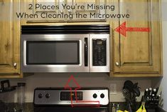 Cleaning the microwave is probably something you do often, however there are 2 more places that you're likely missing - the exhaust grill and underneath the microwave Microwave Cleaning Hack, Cleaning Grease, Self Cleaning Ovens, Cleaning Hacks, Kitchen Cleaning, Cleaning Solutions, Cleaning Supplies, Over The Stove Microwave, Microwave Grill
