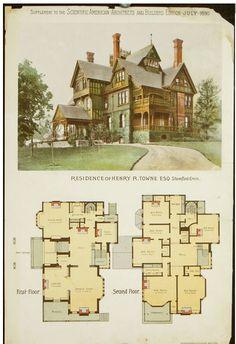 Residência de Henry R. Victorian House Plans, Vintage House Plans, Victorian Homes, Sims 4 House Plans, Dream House Plans, House Floor Plans, Sims Building, Building Plans, Building A House
