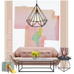 Abstract landscape painting... by gloriettequartet on Polyvore featuring interior, interiors, interior design, home, home decor, interior decorating, Flamant, Herman Miller, Forestier and Nearly Natural
