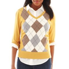 St. John's Bay® Long-Sleeve Argyle Sweater@JCPenney. It comes in deep purple, red, black, navy and yellow. I want all of the colors except the yellow one.