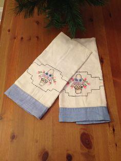 Handstitched Dish Towels Vintage Set Basket by SageandDeesVintage