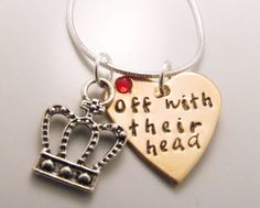 """Off with their head! I love the mean queen from Alice in Wonderland, and if you do too, this is the perfect necklace for you!     A bronze heart is hand stamped with """"off with their head"""", and a red Swarovski Crystal is attached on the top left side of the heart. Paired with the hand stamped, bejeweled heart is a silver crown charm, and they come with an 18"""" sterling silver snake chain."""