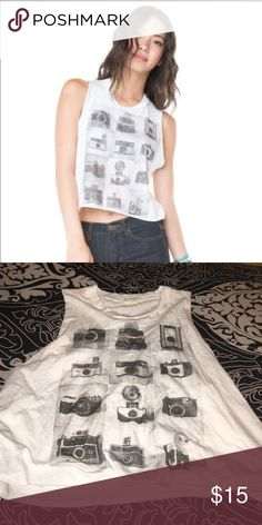 brandy melville camera muscle tee awesome condition // can be cropped // raw cut Brandy Melville Tops Muscle Tees