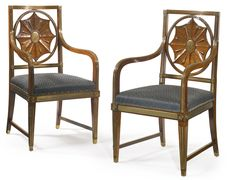 A pair of Russian Neoclassical brass-mounted mahogany armchairs late 18th century