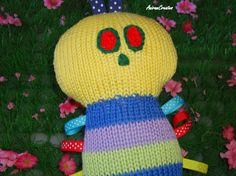 Hand Knitted Baby  Taggie Caterpillar Soft Toy  by AniramCreates, £15.99