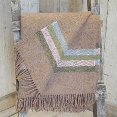 ' Natural Dark Beige Stripe ' Tweed Throw