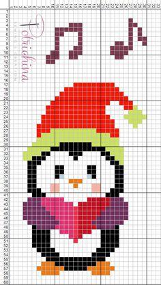 canti di natale pinguino schema punto croce - cross Stitch - Kreuzstich - Punto de Cruz