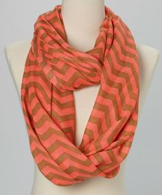 Coral & Taupe Chevron Infinity Scarf by Polka Dotsy
